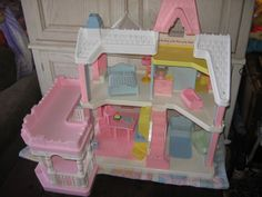 fisher price loving family kitchen cabinets knotty alder playskool victorian dollhouse - (1991) ..... i still have ...