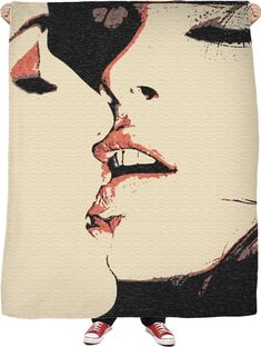 Girls love fleece throw blanket, sexy women kissing, lesbian artwork, red, black, beige colors - for more art and design be sure to visit www.casemiroarts.com, item printed by RageOn at www.rageon.com/a/users/casemiroarts - also available at www.casemiroarts.com This product is hand made and made on-demand. Expect delivery to US in aprox. 11-20 business days (international 14-30 business days). #bedroom #blankets #home #décor