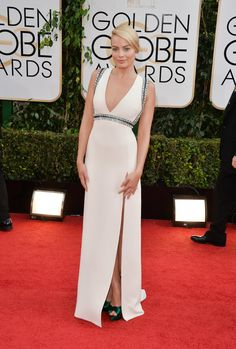 Margot Robbie in Gucci at the Golden Globes in Beverly Hills, California, January 2014