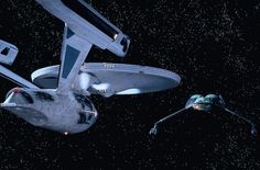 """Evolution of the Starship Enterprise. Toe to Toe The Enterprise encounters a Klingon Bird-of-Prey in """"Star Trek III: The Search for Spock."""" Kirk's decision to self-destruct his ship rather than allow it to fall into enemy hands, and the ship's death spiral into the atmosphere of the planet Genesis, was a sad sight for Trek fans. CREDIT: Paramount Pictures"""