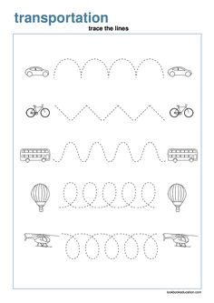 Worksheet Tracing Transportation - LookbookEducation.com