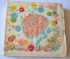 Vintage Paper Napkins Pink Happy Birthday Cake by pumpkintruck Vintage Birthday Parties, Retro Birthday, Birthday Box, It's Your Birthday, Birthday Wishes, Birthday Cards, Husband Birthday, Birthday Ideas, Pink Happy Birthday