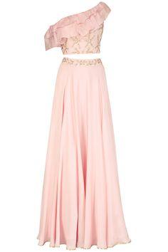 Seema Thukral Mauve Pink One Shoulder Embroidered Crop Top and Skirt Set