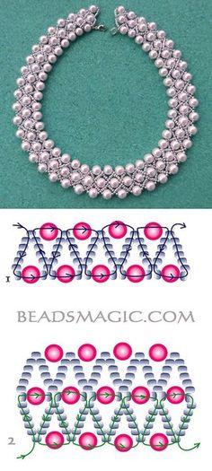 Pearl Lights Ideas Farbideen Schmuck s. - Pearl Lights Ideas Farbideen Schmuck selber machen The - Bead Jewellery, Seed Bead Jewelry, Jewelery, Beaded Necklace Patterns, Beading Patterns, Beaded Necklaces, Beading Ideas, Loom Patterns, Bracelet Patterns