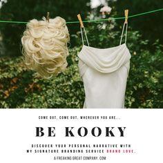 BE KOOKY PERSONALITY BRAND #branding #personalbranding #personalitybrand #kooky #bekooky #whitedress #hangingdress #wig #hangingwig #blondewig