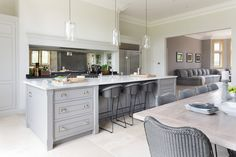 Black granite throughout kitchen diner extension, open plan kitchen dining Large Open Plan Kitchens, Open Plan Kitchen Living Room, Kitchen Dining Living, Open Plan Living, New Kitchen, Dining Area, Kitchen Island, Awesome Kitchen, Kitchen Interior