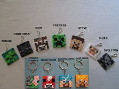Inspired by Minecraft Zipper Pulls Or Key Chain Backpack Phone Purse Charms Clips 7 characters Single or Full Set Party Favor Birthday Boys