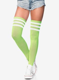 3-stripe athletic ribbed thigh highs. Over Knee Socks, Knee High Socks, Ankle Socks, Striped Thigh High Socks, Bag Display, Athletic Looks, Black Fishnets, Stocking Tights, Athletic Fashion