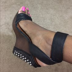 Wedge sandals Genuine leather black sandals. Worn 1 time and in good condition. Brand is Boutique 9. BCBGMaxAzria Shoes Sandals