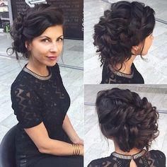 Curly Hair + Loose Braids Updo