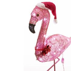 Can you imagine anything cuter than a flamingo in a Santa hat? Okay, yes, kittens, but this guy is really cute too! Pink Flamingos Lawn Ornaments, Yard Flamingos, Flamingo Lights, Outdoor Christmas Decorations, Holiday Decor, Outdoor Decor, Flamingo Garden, Yard Ornaments, Christmas In July