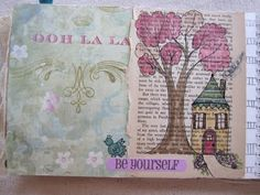 journal pages, I like this idea of doodling over old pages