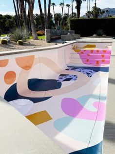 The Mural at the Bottom of This Swimming Pool Will Get You Excited for Summer - - Designer Alex Proba just wrapped one of her most exciting projects yet: a swimming pool in Palm Springs, which now boasts a quirky, colorful mural at the bottom. Palm Springs, Pool Paint, Home Living, Cheap Home Decor, My Dream Home, Interior And Exterior, Home Remodeling, Swimming Pools, Swimming Workouts