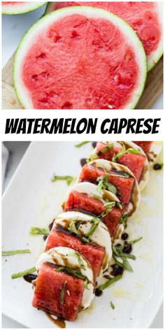 Watermelon Caprese Salad recipe from RecipeGirl.com #watermelon #caprese #salad #recipe #RecipeGirl #balsamic #glaze #balsamicglaze Meat Appetizers, Appetizer Salads, Appetizer Recipes, Vegan Kitchen, Kitchen Recipes, Cooking Recipes, Caprese Salad Recipe, Salad Recipes, Vegetarian Recipes