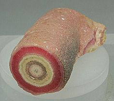 Rhodochrosite - Stalactite Section Catamarca Argentina Description: A stalactitic section of rhodochrosite polished on one end to reveal a colorful pink and cream concentric pattern. The outside of the piece is composed of a drusy coating of pink rhodoc