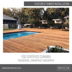 This featured residential timber installation of FSC Certified Cumaru in Zandspruit, Hoedspruit, creates the perfect balance of modern decking that complements its surroundings. Cumaru Decking, Timber Deck, Teak, Outdoor Decor, Modern, Home Decor, Trendy Tree, Decoration Home, Room Decor