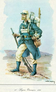 legion etrangere tenue blanc, 1885.