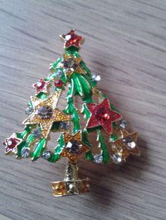 christmas xmas tree star rhinstone brooch