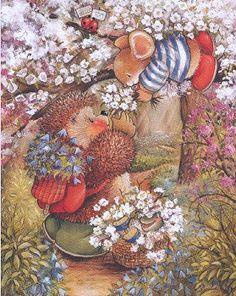 Country Companions Cute Animal Illustration, Children's Book Illustration, Animal Illustrations, Christmas Landscape, Hedgehog Art, Whimsical Art, Pretty Art, Precious Moments, Vintage Cards
