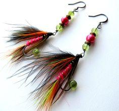 Fishing Fly Earrings  Holiday Earrings  Hot Pink by MajaEarrings, $14.00