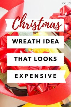 Quick and easy Christmas wreath idea for front door. Make an expensive looking Christmas wreath with these dollar store items. Beautiful and impressive DIY Christmas wreath for your outdoor decorations.