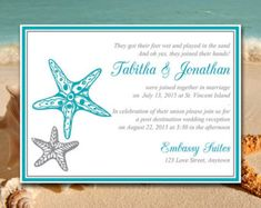 Beach Wedding Reception Invitation Template di PaintTheDayDesigns