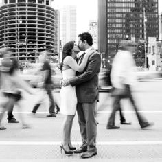 A city chic engagement shoot in beautiful Chicago! Photos by Husar Photography.
