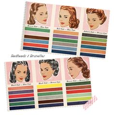 A vintage take on wardrobe and cosmetics colours that flatter different hair and eye combinations.