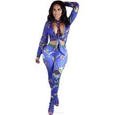 New Print 2017 Winter Two Piece Jumpsuit Long Sleeve Deep V Neck Hollow Out Slim Jumpsuits Elastic Waist Sexy Club Women Rompers