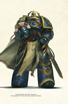 Ultramarines Captain Venetius Ultramarines, Deathwatch, Warhammer 40k Art, Warhammer Fantasy, Space Marine, Art Model, Warfare, Art Pictures, War Hammer