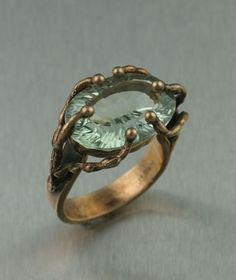 Muir Woods Bronze Ring with Green Amethyst