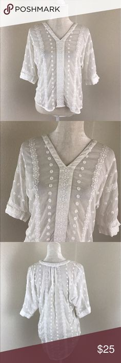 Olive & Oak White Sheer Embroidered V-Neck Blouse Olive & Oak white sheer embroidered Blouse. V neck near tunic length with flattering high low hem. 3/4 sleeves. Lightly used condition. Olive & Oak Tops Blouses