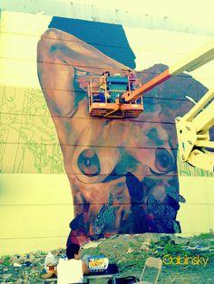 16 de enero de 2015 - Graffitti en la Ave. Manuel Fernández Juncos con el elevado de la salida al Expreso Ramón Baldorioty de Castro Yo lo llamo, chicas por chicas...