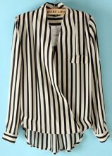 Black White Vertical Stripe Stand Collar Chiffon Blouse #SheInside