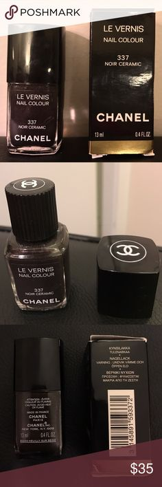 Chanel Le Vernis Nail Colour 337 Noir Ceramic. RARE. LIMITED EDITION. Chanel Le Vernis Nail Colour 337 Noir Ceramic. Noir Ceramic is a charcoal black with a beautiful gunmetal/ silver shimmer. This original formula ensures rapid drying and lasting hold. Toluene-free formula and is dermatologically tested. Comes with removable Chanel cap. Comes in original Chanel box. SWATCHED ONCE. LIKE NEW Size: .4 oz / 13 ml CHANEL Other