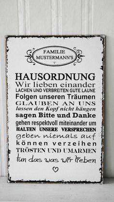 XL  26x17cm Shabby Vintage Schild IND. HAUSORDNUNG von SCHILDERMANUFAKTUR   ---  homestyle-accessoires  --- auf DaWanda.com