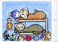 Art by Shelly Mundel. Ferret People Collection  ( Monkey Business )  8x10 inch #OutsiderArt