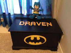 Batman Toy Box/ Blanket Chest by on Etsy Batman Nursery, Batman Bedroom, Superhero Room, Blanket Chest, Baby Boy Nurseries, Toy Boxes, Kids Bedroom, Bedroom Ideas, Nursery Ideas