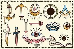 40 Tattoo Flash (full colors) ~ Icons on Creative Market