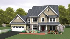 Home Plan HOMEPW77522 - 2690 Square Foot, 4 Bedroom 2 Bathroom Colonial Home with 2 Garage Bays | Homeplans.com