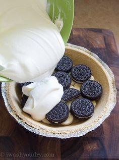 No Bake Banana Oreo Cream Pie Recipe ~ easy and delicious