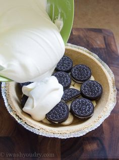No Bake Banana Oreo Cream Pie Recipe ~ easy and delicious