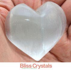 "2"" XL SELENITE HEART ""Puffy"" Polished Palm Crystal Healing - Tumbled Stone, Feng Shui, Reiki, Wicca, Gem, Gemstone, Cleansing"
