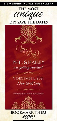 This Royal Indian Wedding Save the date invitation, from our Ethnic Fusion collection, lovingly created by us, is for those who would like to leave, not only a subtle, but also an impactful impression on their guests!This DIY Red Save the date template, a fusion invite in Maroon Damask Indian Wedding Invitations, Save The Date Invitations, Diy Invitations, Digital Invitations, Unique Wedding Save The Dates, Diy Save The Dates, Horse Wedding, Diy Wedding, Wedding Cards