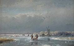 IJsgezicht, Andreas Schelfhout  (1787-1870), 1856 schilderij. Collectie: Teylers Museum.