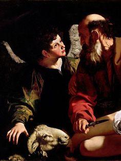 """""""Sacrifice of Isaac"""" (detail), c.1603, Caravaggio."""