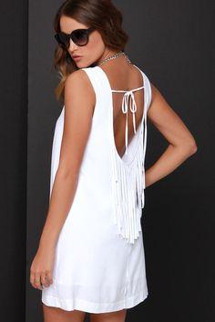 BB Dakota Elsa White Fringe Dress