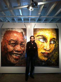 Between two my paintings. Nelson Mandela 2013