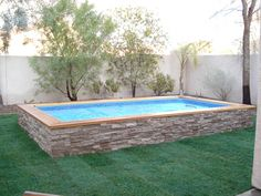 Above Ground Pool Landscaping, Backyard Pool Landscaping, Backyard Pool Designs, Small Backyard Pools, Backyard Ideas, Pool Ideas, Small Swimming Pools, Small Pools, Swimming Pools Backyard