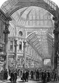 Leadenhall Market Illustrated London News 1881 - historically selling fresh food, and flowers, some commercial retailers have been added.